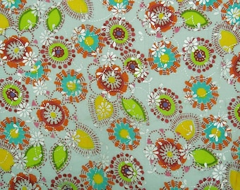 """Bluish Grey Fabric, Floral Rubber Print, Decorative Fabric, Craft Fabric, 44"""" Inch Cotton Fabric By The Yard ZBC7839A"""