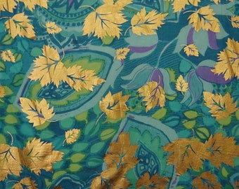 "Leaf Rubber Print, Aqua Blue Fabric, Home Decoration, Dressmaking Fabric, 44"" Inch Cotton Fabric By The Yard ZBC7850A"