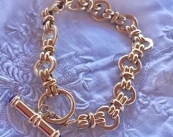 14k Yellow Gold Ruby & Sapphire Bracelet W/ Toggle Clasp