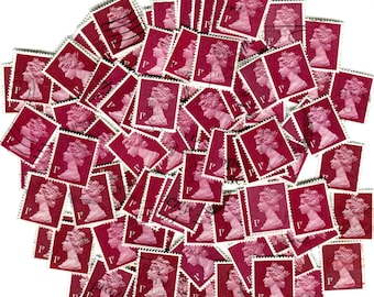 Vintage 1p Crimson red postage stamp UK GB England. Maroon bloody blush color. Scrapbooking postal collage supply decor, jewelry decoupage!!