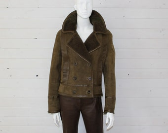 Women's VALENTINO  Lambskin Suede Olive Jacket  Size Medium ( 8 ) Made in Italy