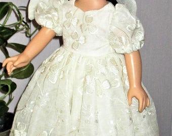 ag doll Wedding dress, ag doll Christening Gown, embroidered voile doll wedding gown, 4 piece doll outfit, ag cream slip, ag cream undies
