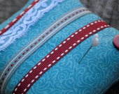 FREE SHIPPING:  Pin Cushion, Turquoise, Red, Ribbon, Lace, Grey, Button