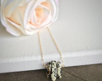 14k gold filled sterling silver dalmatian jasper spike stick bead bar necklace / bridesmaid necklace / dainty / minimalist / statement