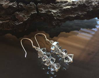 Herkimer Diamond Earrings, Herkimer Diamond and Sterling Silver Earrings