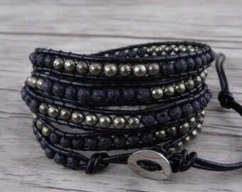 black lava beads barcelet leather wasp bracelet pyrite beads bracelet waps beaded bracelet Boho waps bracelet JewelrySL-0533