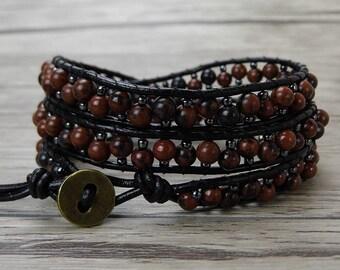 Boho bracelet Waps beads bracelet mahagony stone beads bracelet Gemstone bracelet Seed beads bracelet 3 rows waps bracelet Jewelry SL-0423