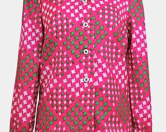 vintage bright pink pinwheel blouse. 70s shirt - geometric pattern - pink green white fuchsia cerise - medium large - m l - uk12 size 12