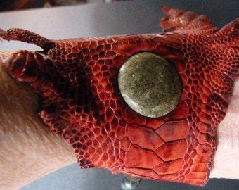 Ostrich Leather Cuff Bracelet in Berry Red