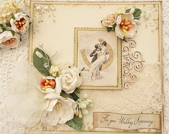 Wedding Anniversary Card handmade with lace, flowers, ribbon, pearls