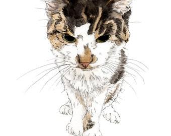 Custom Cat Portrait. Giclee Print. Custom Portrait. Custom Pet portrait. Wall Decor. Gift-Memorial Pet-Cat-Catlover-Custom Made-Print