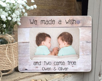 Twins Picture Frame Twin Gift  Twin Girls Twin Boys Twin Babies Personalized Picture Frame