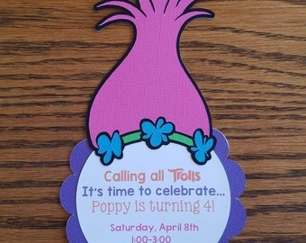 Trolls Birthday Invitation, Poppy Invitation - Handmade, diecut, silhouette, cardstock, Trolls, birthday invitation
