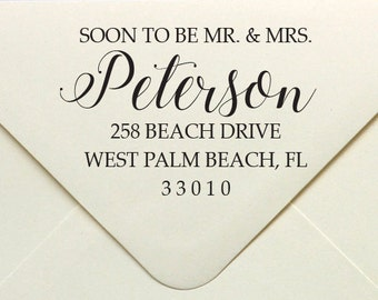 Soon To Be Mr. & Mrs. Wedding Address Stamp, Custom Address Stamp, Rubber. Personalized Rubber Stamp
