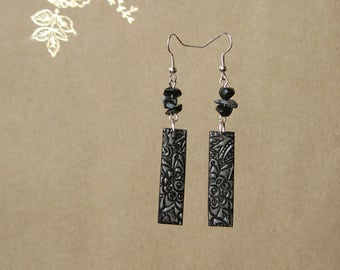 Birthday gift-for-niece Gift-for-teacher gifts Bohemian earrings Long earrings Gypsy earrings Gray earrings Obsidian earrings Bar earrings