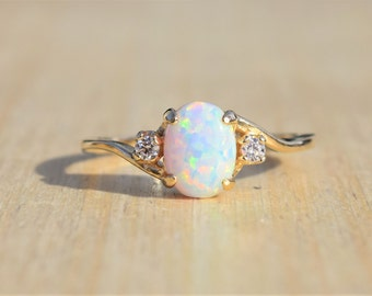 Gold Opal Ring, White Opal Ring, Gold Ring, Opal Ring, Promise Ring, Engagement Ring, Lab Created Opal Ring
