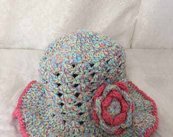 Crochet toddler hat, cotton girl hat, colorful crochet Spring hat, girl toddler crochet spring hat, brim sun hat, girl Easter cloche