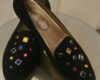 1980s bedazzled black suede shoes by LJS for Town Shoes in size 7M