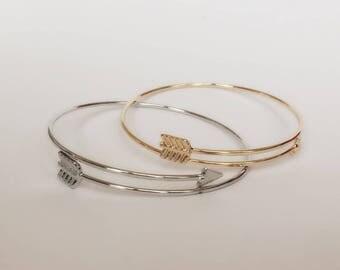Gold or Silver Arrow Bracelet / Arrow Bangle / Charm Bangle Bracelet / BR2