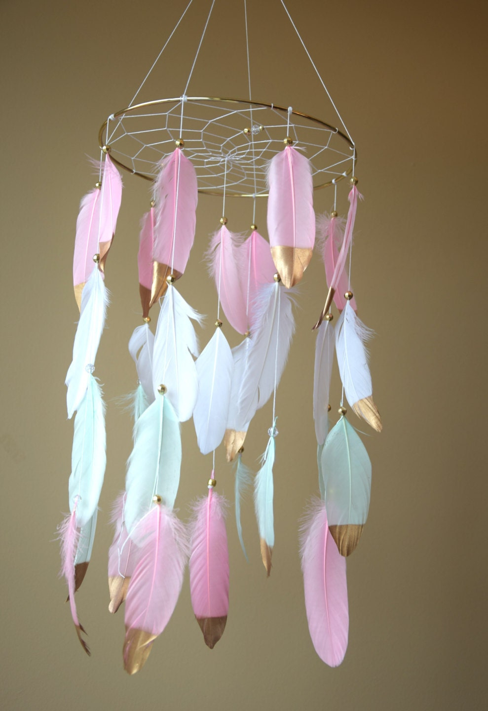 Baby mobile dream catcher mobile baby girl mobile pink