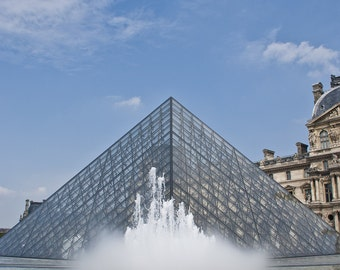 Paris, The Louvre, architecture photography, wall art, France, pyramid, water fountain