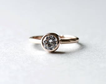 14k Rose Gold Ring, Solitaire Ring, Engagement Ring, Wedding Ring, Stacking Ring, Dainty Ring, Round Ring, Rose and Choc
