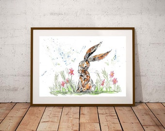 SALE Hare watercolour PRINT, hare, watercolour painting, hare illustration, hare art print, new baby gift, nursery decor, rabbit painting