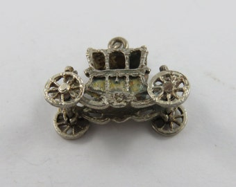 Mechanical Carriage with Driver and Passenger and Wheels Move Sterling Silver Charm or Pendant.