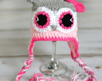 Baby Owl Hats - Crochet Owl Hats - Pink Owl Hat - Handmade Owl Hat - Newborn Photo Prop - Owl Hat Photo Prop - Baby Fashion Hats