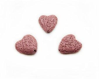 Pink Heart Lava Beads, 20x21mm Heart Lava Beads, Heart Lava Beads, Heart Beads, 3pcs Heart Lava, Jewelry Making, Craft Supplies