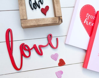 Love wood sign // love wood cutout // wood letters // Valentine's Day  decor // wood cutout // holiday decor // wood sign // love sign