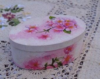 Decoupage box Romantic wood box with flowers Decoupage handmade Romantic style Jewelery box Wedding ring box pink box Gift box