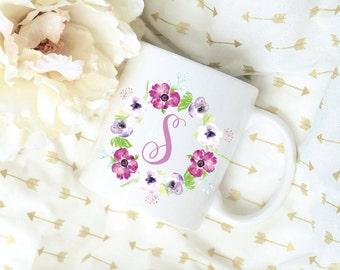 Custom Letter Watercolor Violet Coffee Mug, Sublimation Mug, 2 Sided, Coffee Mug