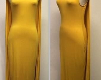 Stunning Long Maxi Dress, A Line Splash Dress,Sleeveless Dress, Batwing Dress, Cape Dress, Gold, Sizes S, M, L