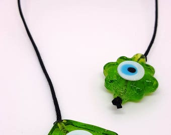Handmade Book Thong with Green Evil Eye Glass Beads | Bookmark | Unique