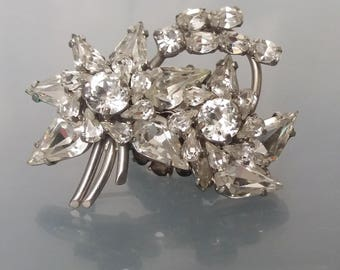 Rhinestone Floral Brooch Mid Century Unique Flower Pin Sparkly Clear Diamante Vintage Statement Jewelry Gift for Mother