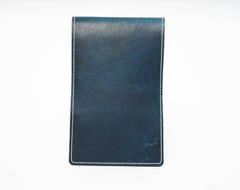 Personalized Handmade Leather Golf Scorecard Holder / Yardage book Horween Dublin Navy