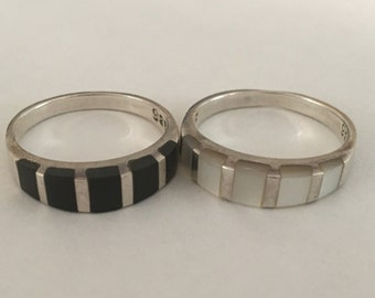 Set of Two Sterling Silver 925 Stackable Rings, Black and White