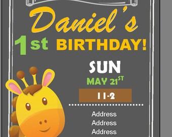 Giraffe Birthday Invite