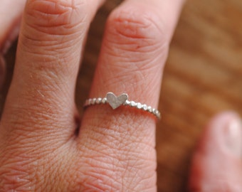Tiny Heart Stacker Ring | Sterling Silver
