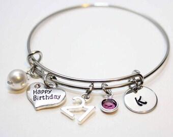 21st birthday bangle, 21st birthday bracelet, 21st birthday jewelry, 21st birthday gift, initial 21st birthday bangle, initial 21st birthday