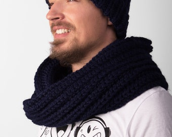 Knit Beanie with Scarf mens knit hat knitted beanie dark hat