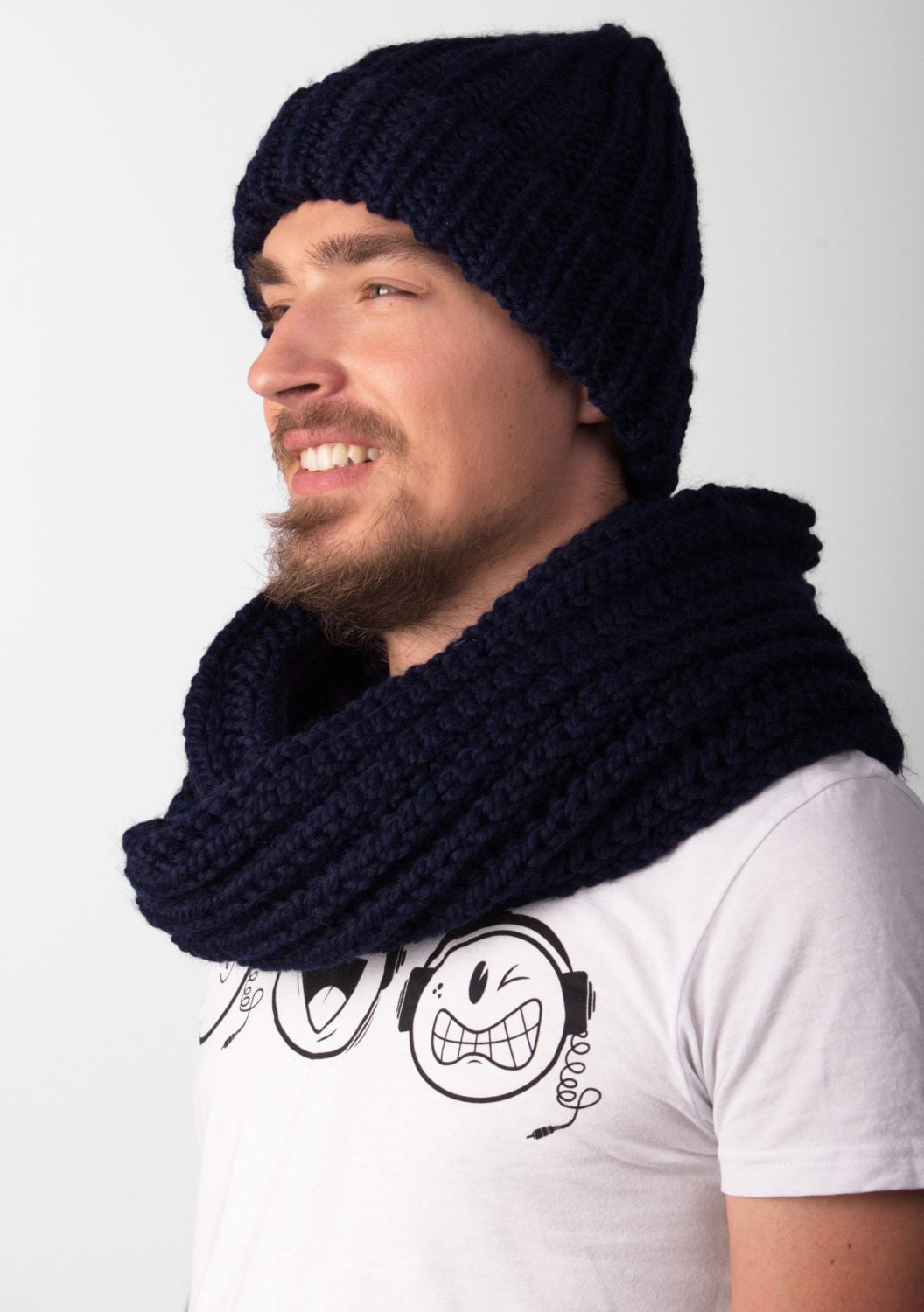 Knit beanie with scarf mens knit hat knitted beanie dark hat zoom bankloansurffo Image collections
