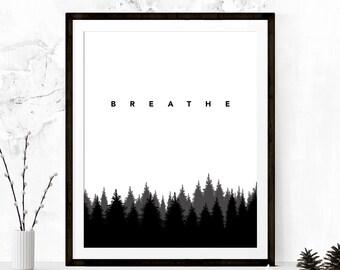 Breathe Print, Relaxation Print, Meditation Print, Zen Print, Yoga Studio Print, Yoga Studio Art, Meditation Print, Printable Art, Yoga