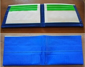 Blue White Green Handmade Duct Tape Wallet