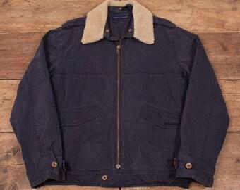 """Mens Vintage Tommy Hilfiger Cotton Bomber Jacket Fur Collar Blue L 46"""" R5043"""