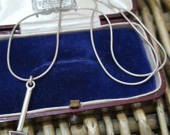 Vintage 925 sterling silver necklace, amethyst arrow pendant