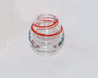 Hand Blown Clear Glass Vase with Red Accent - 1160