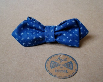 Man women blue print adjustable self-tie bowtie