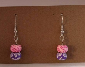 Pinik and white bead with purple and white bead silver fishhook